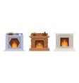 set of burning vintage fireplace of various design vector image