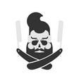 skull hipster and straight razor beard and razor vector image vector image