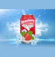 strawberry tonic poster banner template vector image vector image