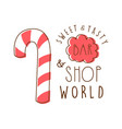 sweet and tasty shop world logo colorful hand vector image vector image