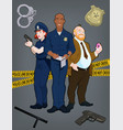 team policemen three police officers characters vector image