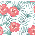tropical hibiscus and leaves seamless white vector image vector image