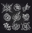 versus logos on blackboard background vector image vector image