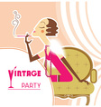 vintage party flapper girl with sigaret vector image vector image