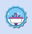washbasin faucets bubbles cartoon banner bathroom vector image