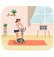 woman doing cycling exercise fit with bike vector image vector image