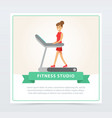 young woman walking on thread mill fitness studio vector image vector image