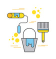 construction paint bucket roller and brush tool vector image