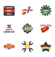 american labor day logo set flat style vector image
