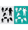 astronaut in outer space silhouettes vector image vector image