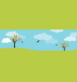 autumn landscape panorama with green meadow trees vector image