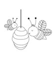 bees in hive farm animal isolated icon on vector image