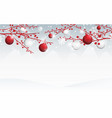berries branches with red and white christmas ball vector image