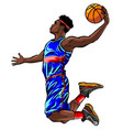 black male basketball player jumping to shoot vector image