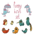 cartoon flat birds set icon stickers vector image vector image