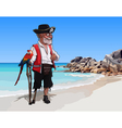 cartoon one legged man pirate with a parrot vector image vector image