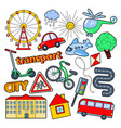 children transport doodle with bicycle vector image vector image