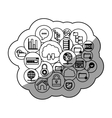 Cloud computing and media icon set design vector image