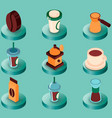 coffee colored isometric icons vector image vector image