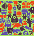colorful endless pattern with robots and monsters vector image vector image