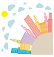 colors round city with builds and clouds vector image