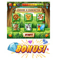 Computer game template with wildlife characters vector image vector image