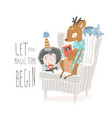 cute deer reading book to a little boy vector image vector image