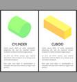 cylinder and cuboid banner set vector image