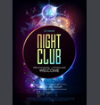disco ball background disco party poster on open vector image vector image