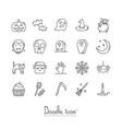 doodle halloween icon set vector image vector image