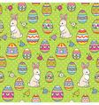 easter pattern green bunny vector image