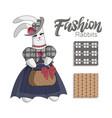 elegant fashion bunny rabit in blue dress vector image