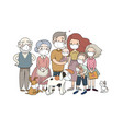 family and animals in white medical face mask vector image