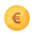 flat golden icon with glow of euro coin vector image vector image