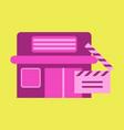flat icon building cinema slapstick vector image vector image