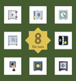 flat icon strongbox set of protection coins vector image vector image