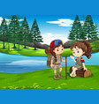 girl scout hiking in nature vector image vector image