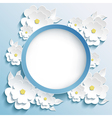 Greeting or invitation card frame with 3d sakura vector image vector image