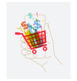 hand phone online shopping vector image vector image
