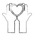 hands up with heart love isolated icon vector image