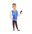handsome guy student in football jacket with phone vector image vector image