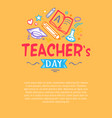 happy teachers day poster with icons silhouettes vector image