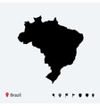 High detailed map of Brazil with navigation pins vector image vector image