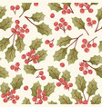 holly berry seamless pattern vector image vector image