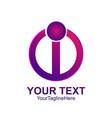 initial letter i logo template colored purple vector image vector image