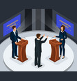 isometric presidential debates concept vector image vector image