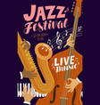 jazz festival placard live music jive concert vector image vector image