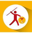 olympic gold medal javelin throw icon vector image