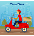 pizza courier on scooter delivery vector image