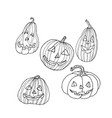 pumpkin with carved spooky and funny face vector image